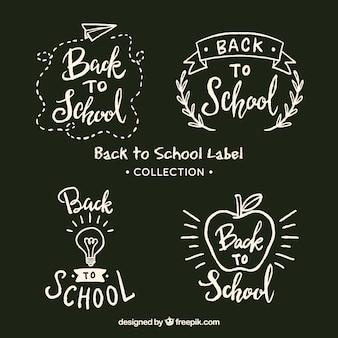 Retour à la collection d'étiquettes de l'école à la craie