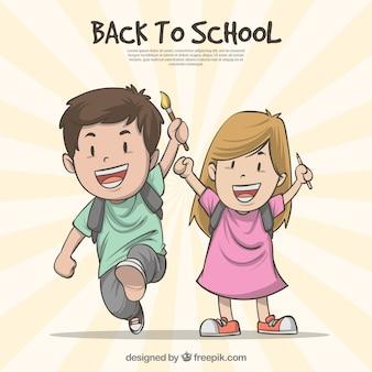 Retour à la composition de l'école avec des enfants dessinés à la main