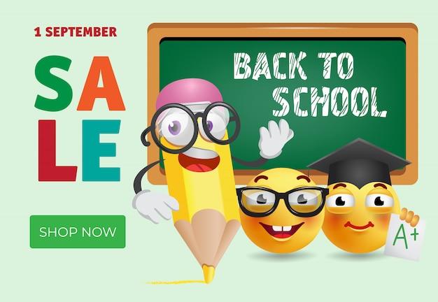 Retour à la conception de bannière de vente école avec un crayon de dessin animé