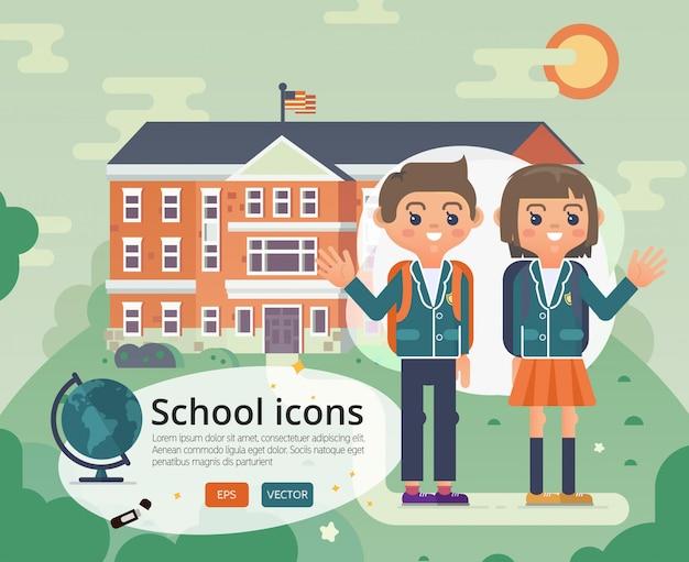 Retour à la conception de la couverture de l'école avec adolescent en uniforme.