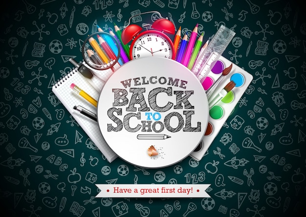 Retour à la conception de l'école avec crayon coloré et réveil