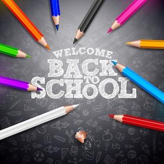 Retour à la conception de l'école avec des crayons colorés