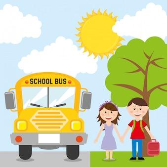 Retour à la conception de l'école sur l'illustration vectorielle fond ciel