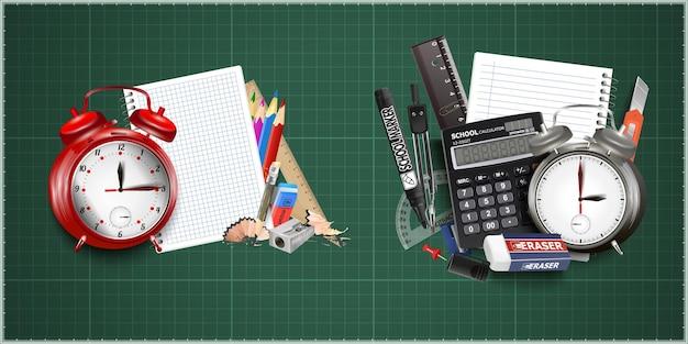 Retour à la conception de l & # 39; école avec réveil, crayon graphite et cahier