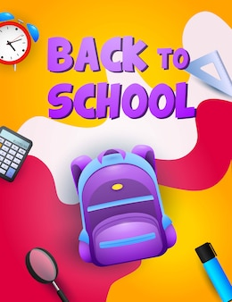 Retour à la conception de l'école. sac à dos violet