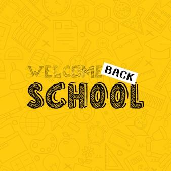 Retour à la conception de l'école avec le vecteur de fond jaune