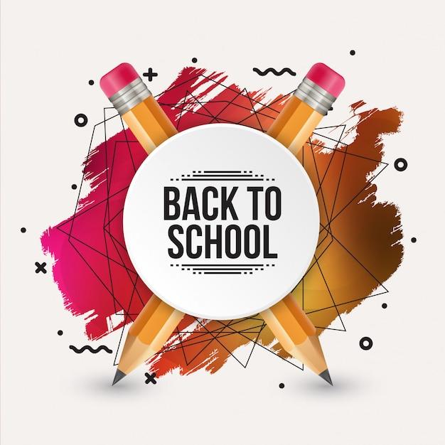 Retour à la conception de modèle d'école avec illustration réaliste de crayon