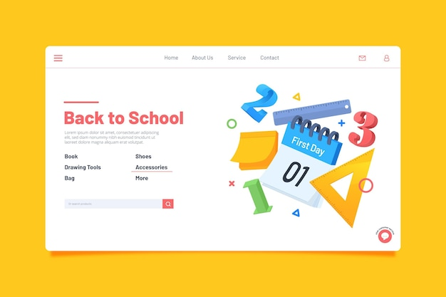 Retour à la conception de la page de destination de l'école