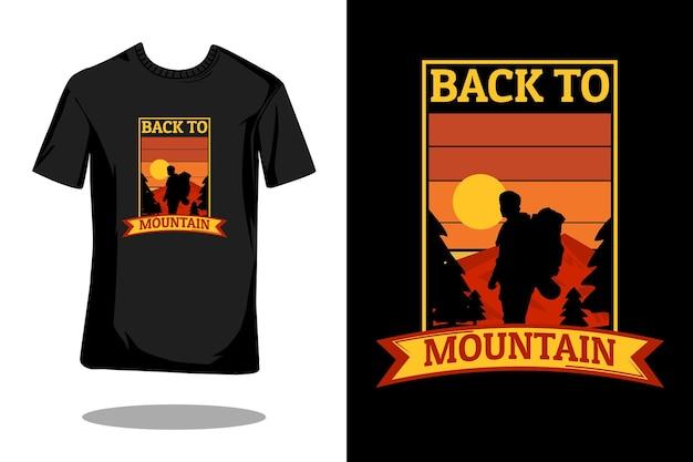 Retour à la conception de t-shirt rétro silhouette montagne
