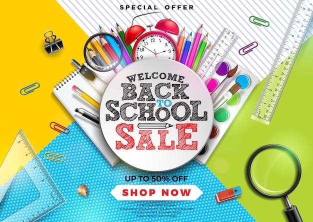 Retour à la conception de vente d'école avec un crayon coloré