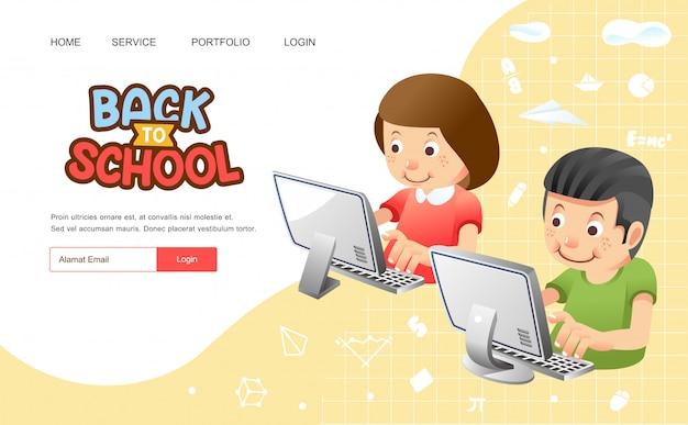 Retour à l'école ou une affiche avec un garçon et une fille à l'aide d'un ordinateur pour une étude en ligne à partir de l'illustration à la maison