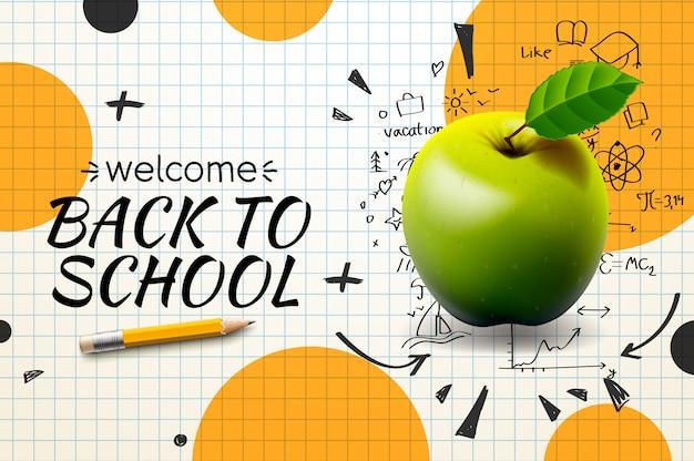 Retour à L'école, Affiche Et Sur Papier Quadrillé ,. Vecteur Premium