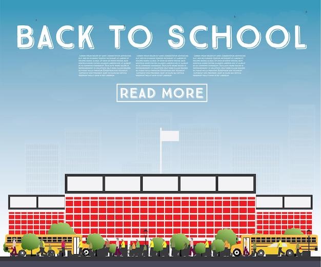 Retour à l'école. bannière avec autobus scolaire, bâtiment et étudiants. illustration vectorielle.