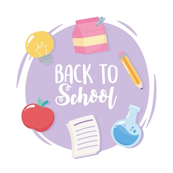 Retour à l'école, bannière de dessin animé de l'éducation élémentaire crayon papier pomme