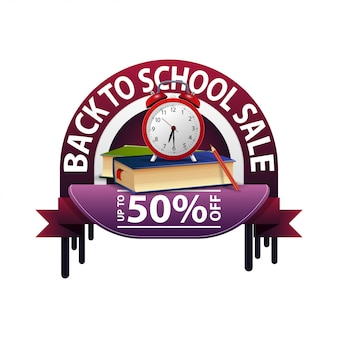 De retour à l'école, bannière d'escompte ronde pour votre site web avec livres scolaires et réveil