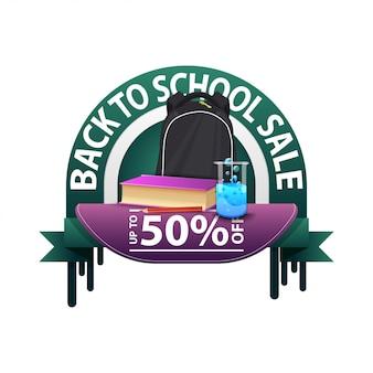 De retour à l'école, bannière d'escompte ronde pour votre site web avec sac à dos scolaire