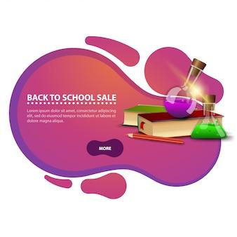 De retour à l'école, bannière de remise moderne sous forme de lignes lisses pour votre entreprise avec des livres