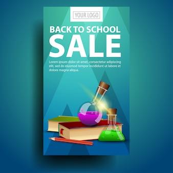 De retour à l'école, bannière verticale moderne et élégante pour votre entreprise avec des livres et des flacons de produits chimiques