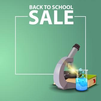 De retour à l'école, bannière web carrée pour votre site web avec microscope, livres et fiole chimique