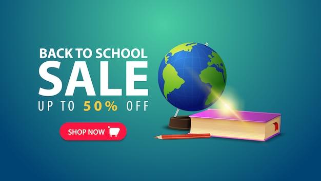 Retour à l'école, bannière web discount dans un style minimaliste avec globe