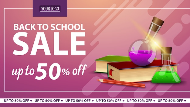 De retour à l'école, bannière web horizontale à prix réduit pour boutique en ligne avec livres et flacons de produits chimiques