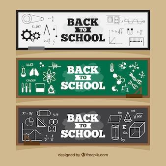 Retour à l'école des bannières web dans les styles de tableau noir
