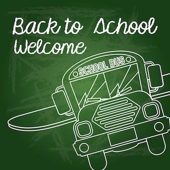 Retour à l'école bienvenue sur illustration vectorielle vert
