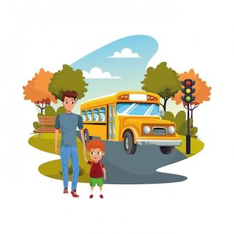 Retour à l'école avec bonheur et père fils et bus scolaire