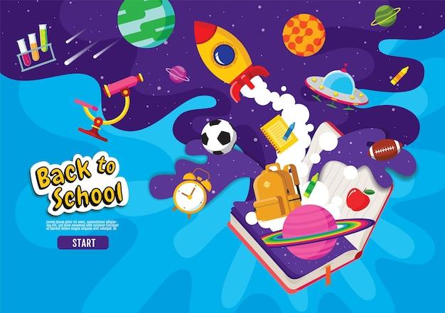 Retour à l'école, book inspiration, conception de bannières, illustration vectorielle.