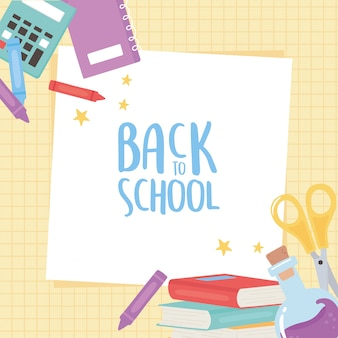 Retour à l'école, calculatrice ciseaux livres crayons éducation dessin animé grille fond