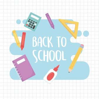 Retour à l'école, calculatrice de règle de colle pour ordinateur portable fournit un fond de grille de dessin animé d'éducation