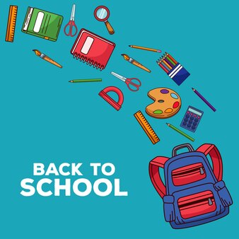 Retour à l & # 39; école avec cartable et fournitures