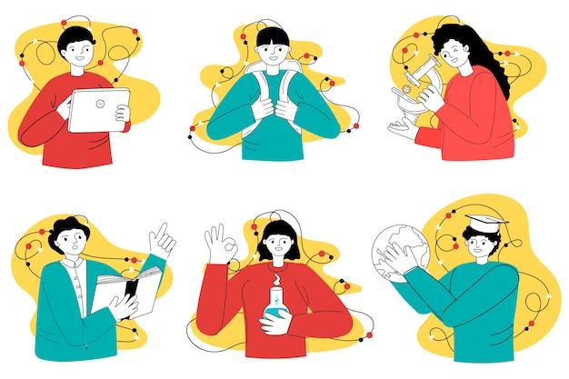 Retour à l'école. une collection de personnages dans un style moderne. illustration vectorielle. génération. éducation en ligne.