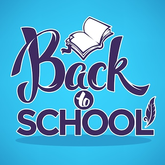 Retour à l'école, composition de lettrage avec image de livre ouvert sur fond bleu clair pour votre bannière ou flyer