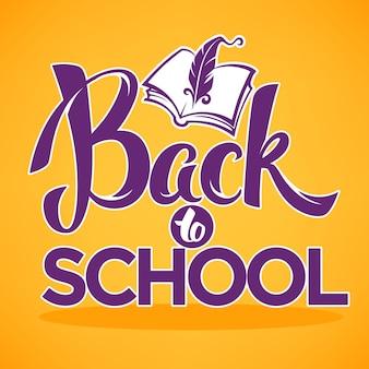 Retour à l'école, composition de lettrage avec image de livre ouvert sur fond orange vif pour votre bannière ou flyer