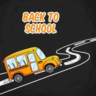 Retour à l'école avec le concept d'autobus scolaire sur la route de la craie