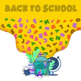 Retour à l'école - concept de bannière, grand sac à dos scolaire