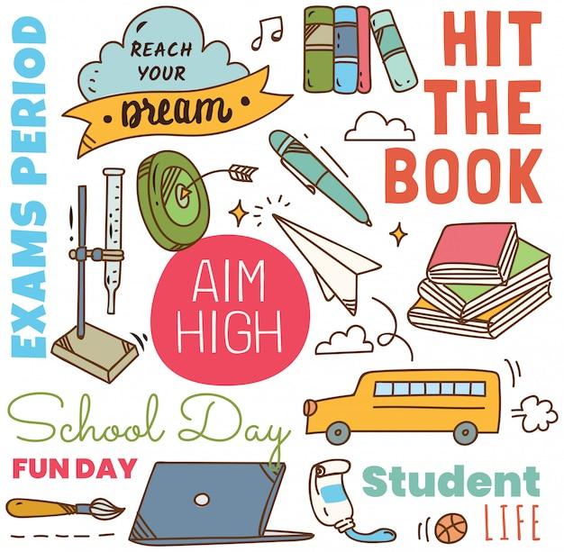 Retour à l'école concept doodle fond