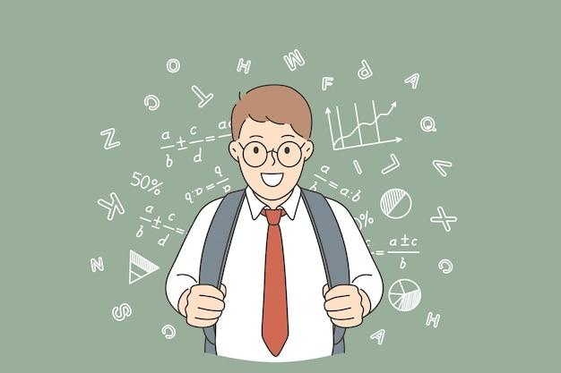 Retour à l'école et concept d'éducation heureuse