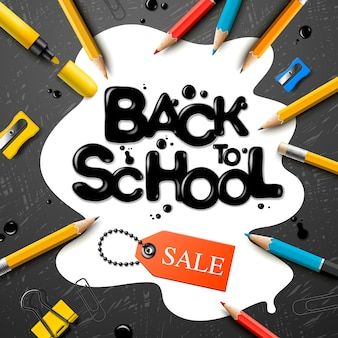 Retour à l'école conception de vente avec des crayons et des lettres de typographie. illustration scolaire pour affiche, web, couverture, annonce, salutation, carte, médias sociaux, promotion.