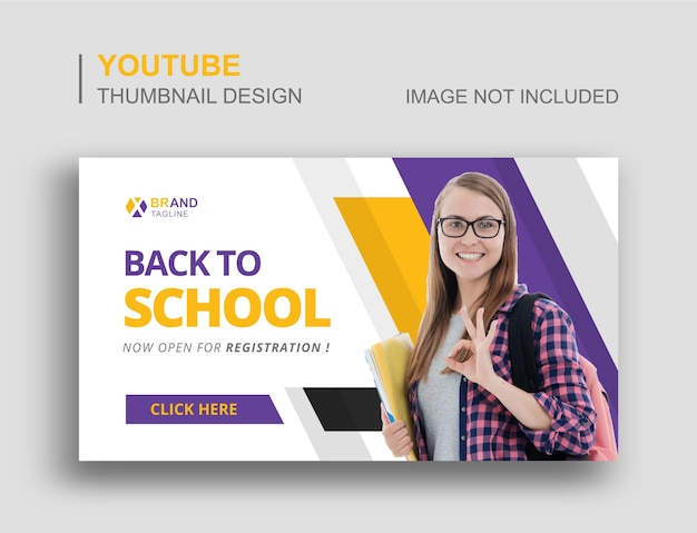 Retour à l'école conception de vignettes youtube et de bannières web