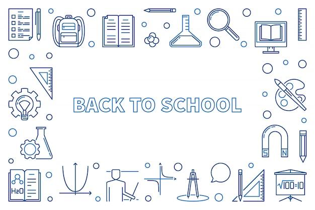 Retour à l'école contour illustration icône horizontale ou cadre
