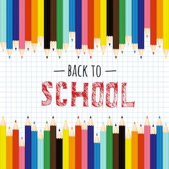 De retour à l'école avec des crayons de couleur et une phrase à dessiner.