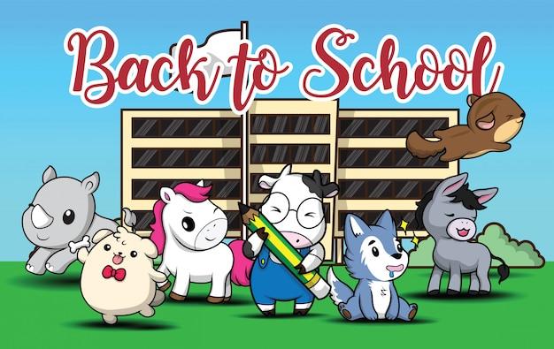 Retour à l'école., dessin animé animal mignon.