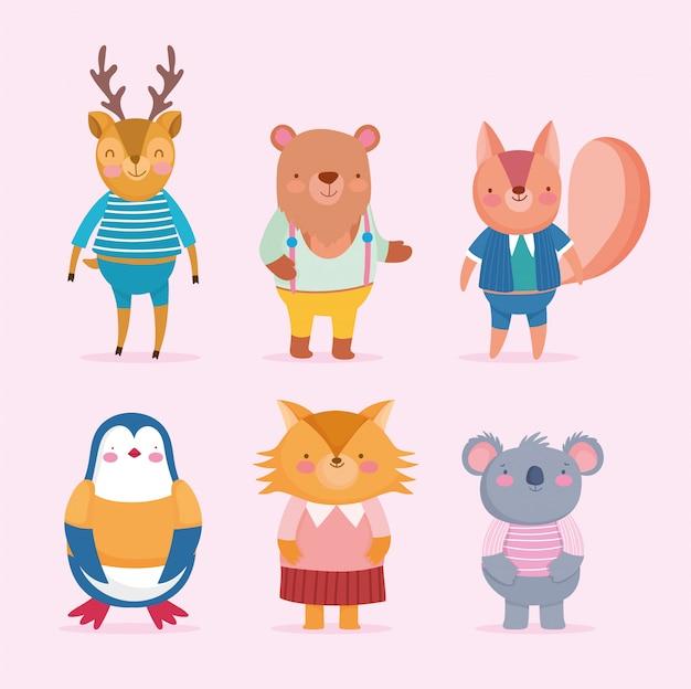 Retour à l'école dessin animé animaux mignons avec des vêtements
