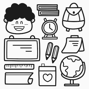 Retour à l'école dessin animé doodle coloriage design