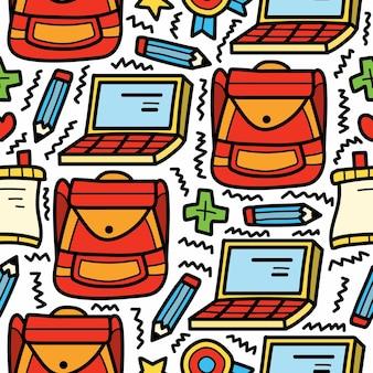 Retour à l'école dessin animé doodle design dessiné à la main
