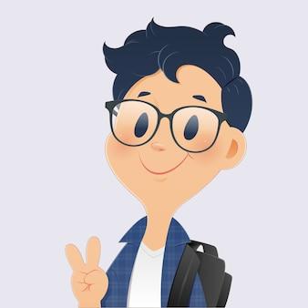 Retour à l'école, dessin animé garçon étudiant montrant les doigts vers le haut