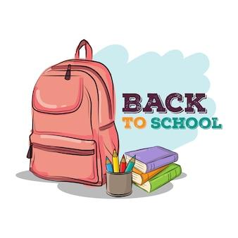 Retour à l'école dessiné à la main