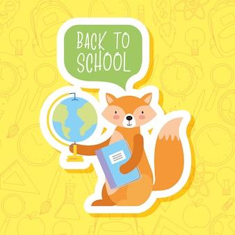 Retour à l'école des dessins animés d'animaux mignons